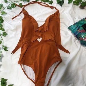 Burnt Orange One Piece Bathing Suit